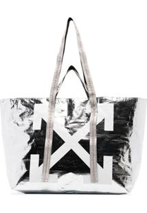 Off-White Bolsa Tote Com Logo Arrow - Prateado