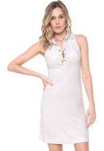 Vestido Agua De Coco Por Liana Thomaz Curto Lace Up Off-White