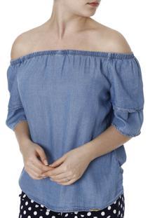 Blusa Jeans Ciganinha Cambos Azul