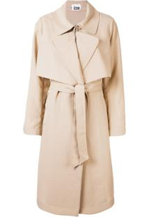 Izzue Belted Cotton Trench Coat - Marrom