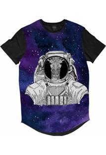 Camiseta Longline Insane 10 Animal Astronauta Girafa No Espaço Sublimada Cinza