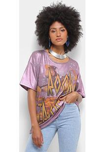 Camiseta Farm Manga Curta Estampada Feminina - Feminino-Rosa