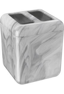 Porta-Escova Cube Com Tampa Coza Mármore Branco