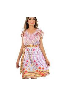 Vestido Evasê 101 Resort Wear Com Renda Estampado