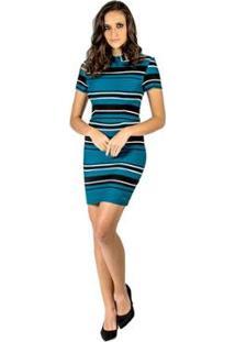 Vestido Curto Listrado Colcci - Feminino-Azul