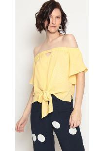 Blusa Ombro A Ombro Com Amarração - Amarela- Operateoperate