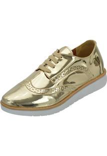 Tênis Oxford Selten Metalizado Dourado