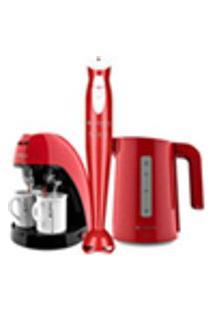Kit Cadence Colors Vermelho - Cafeteira - Mixer Chaleira Ii - 127V