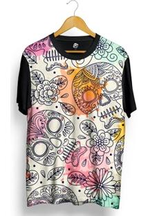 Camiseta Bsc Mexican Skull Ink Drop Full Print - Masculino