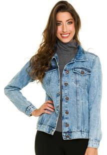 Jaqueta Jeans Com Bolso Clara Jogabe - Tricae