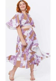 Blusa Cropped Plus Size Ampla Roxo