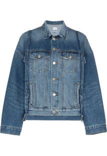 Sjyp Jaqueta Jeans Oversized Com Recortes - Azul