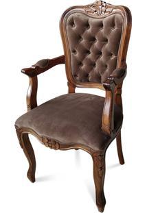 Cadeira Com Braço Luís Xiv Capitonê Madeira Maciça Design De Luxo Peça Artesanal