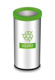 Lixeira Seletiva Com Aro E Adesivo Verde 40,5 Litros - Decorline Lixeiras Ø 30 X 60 Cm - Brinox