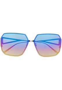 Bottega Veneta Eyewear Óculos De Sol Quadrado - Prateado
