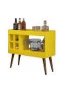 Aparador Bar Com Adega Laguna Estilo Retrô - Amarelo