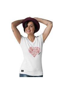 Camiseta Feminina Gola V Cellos Heart Premium Branco