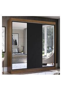 Guarda-Roupa Casal Madesa Istambul 3 Portas De Correr Com Espelhos 3 Gavetas - Rustic/Preto Marrom