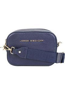 Bolsa Couro Jorge Bischoff Mini Bag Floater Feminina - Feminino-Marinho
