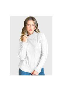 Blusa Branca Gola Alta Haraluna Tricot Manga Longa Lã Grossa De Frio