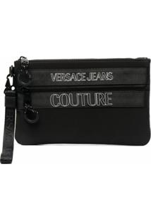 Versace Jeans Couture Logo-Print Clutch Bag - Preto