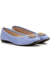 Sapatilha Moleca Enfeite Têxtil Feminina - Feminino-Azul Claro