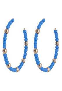 Argola De Metal Dourado Com Miçanga Azul Cléo