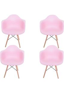 Kit 4 Cadeiras Facthus Charles Melbourne Com Base De Madeira Rosa