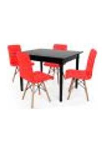 Conjunto Mesa De Jantar Robust 110X90 Preta Com 4 Cadeiras Eiffel Gomos - Vermelha