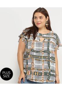 Blusa Xadrez Lemise Cintos & Fivelas Plus Size Feminina - Feminino