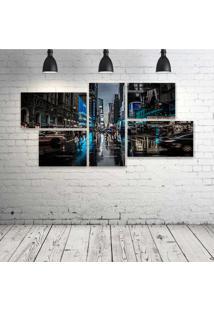 Quadro Decorativo - New-York-Blue-City - Composto De 5 Quadros