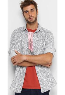 Camisa Colcci Folhas Manga Longa Masculina - Masculino-Cinza