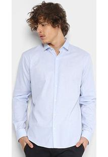Camisa Ellus Dotted Pinpoint Dobby Cl New Italian Masculina - Masculino-Azul
