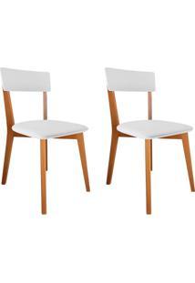 Conjunto Com 2 Cadeiras De Jantar Tóquio Corino Mel E Branco