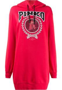 Pinko Logo Print Hoodie - Vermelho