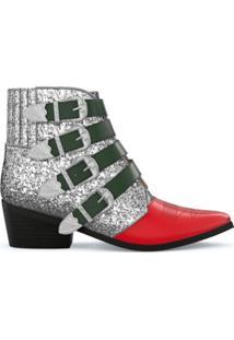 Toga Pulla Ankle Boot De Couro - Silver