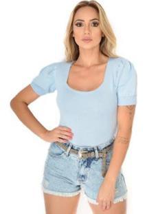 Body Livora Gola Princesa Tricot Modal Feminino - Feminino-Azul Claro