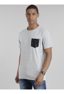 """Camiseta Com Bolso Estampado """"Rock'N Roll"""" Cinza Mescla Claro"""