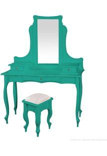 Penteadeira 3 Gavetas Com Puff E Espelho 1020-1 Azul - Urbe Móveis