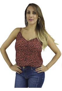 Camisa Regata Nua Duza Viscose Onça 40 Vermelho