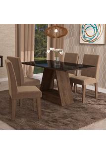 Conjunto De Mesa De Jantar Retangular Alana Com Vidro E 4 Cadeiras Milena Suede Pluma E Preto