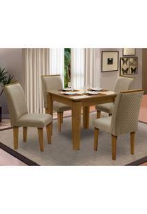 Sala De Jantar Saint Michel Com 4 Cadeiras – Dobuê Movelaria - Mell / Bege / Bege