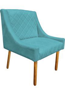 Poltrona Decorativa Paris Suede Azul Tiffany - D'Rossi