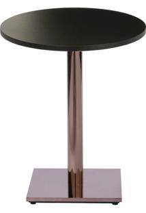 Mesa Colorado 80 Cm Tampo Redondo Preto Base Bronze - 37284 - Sun House