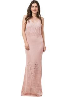 Vestido Pink Tricot Longo Sereia Feminino Rosa Claro