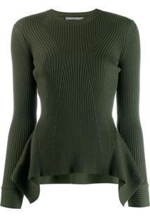 Alberta Ferretti Suéter De Tricô Canelado Com Peplum - Verde