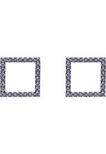 Brinco Obietto Em Ródio Negro Quadrado Vazado Com Zircônia Cristal