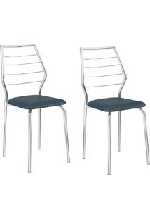 Kit 2 Cadeiras 1716 Azul Noturno/Cromado - Carraro Móveis