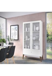 Cristaleira 2 Portas De Vidro E 1 Gaveta 0810 Com Pés Palito Branco Brilho - Genialflex