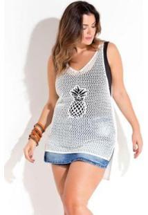 Saída De Praia Beline Plus Size Em Tricot Quintess - Feminino-Off White